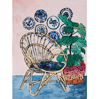 Lara Meintjes Circles: Round Rattan Chair and Delft Plates in Tropical Pink Interior Painting For Sale