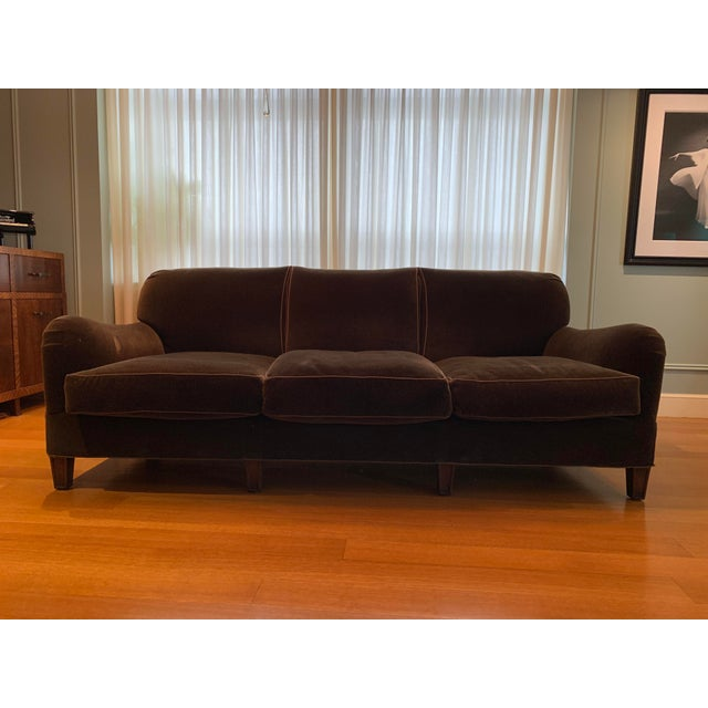 Wood Modern Schumacher Mohair Three Seat Sofa / 2 Available For Sale - Image 7 of 12