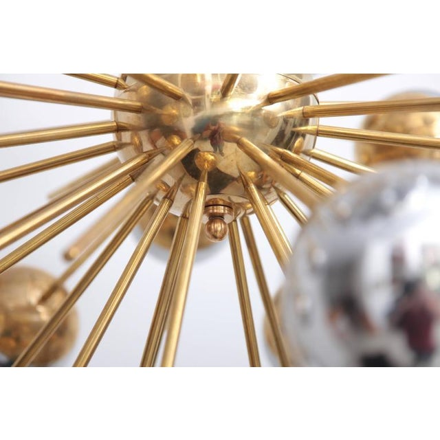 1 of 2 Exceptional Huge Sputnik Murano Glass and Brass Chandelier For Sale - Image 4 of 6
