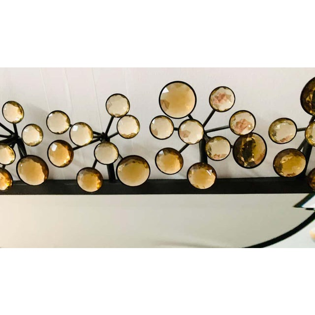 1980s Mid-Century Modern Black and Faux Crystal Accent Beveled Wall Mirror For Sale - Image 5 of 13