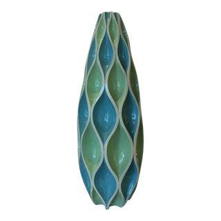 Blue and Green Woven Vase For Sale