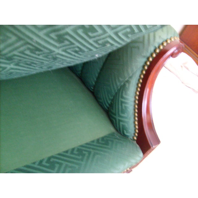 Early 20th Century Vintage Green Channel Back Settee For Sale - Image 5 of 9