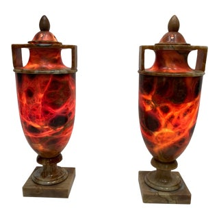 Illuminated Italian Alabaster Urn Table Lamps - a Pair For Sale