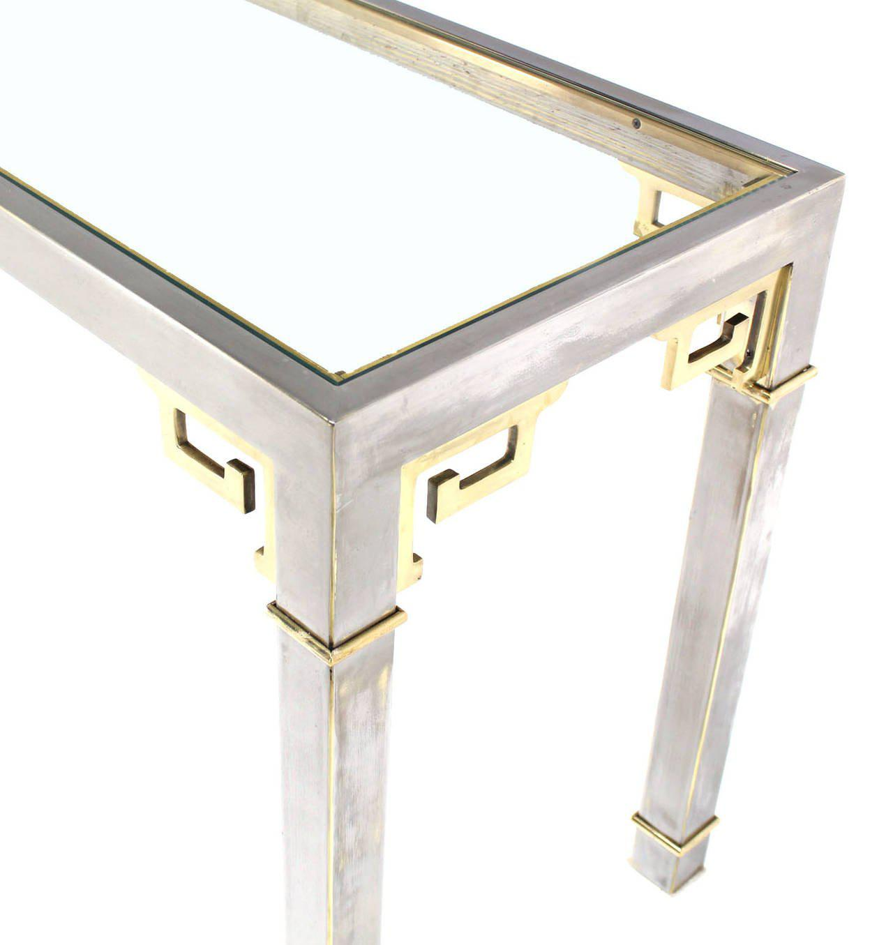 Fine Chrome Brass Glass Console Table by Mastercraft DECASO