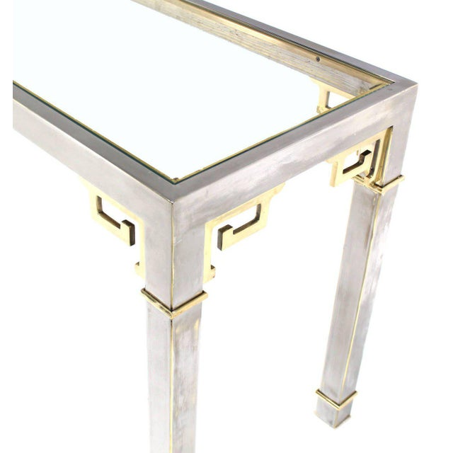 Mid-Century Modern Chrome Brass & Glass Console Table by Mastercraft For Sale - Image 3 of 9