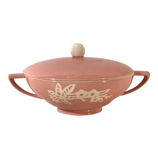 Mid Century Pink Covered Casserole Dish For Sale