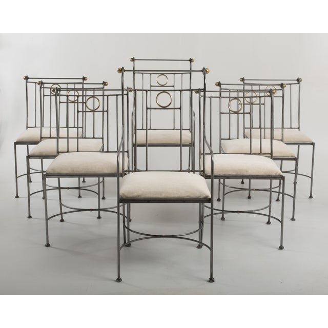 1970s Italian Mid-Century Steel Brass Dining Chairs - Set of 8 For Sale - Image 13 of 13