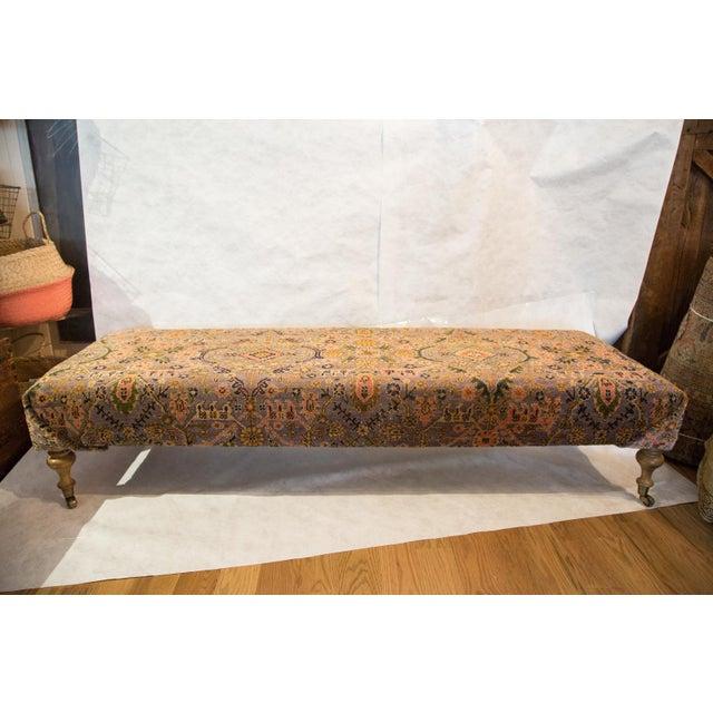 Vintage Persian Rug Ottoman For Sale - Image 4 of 5