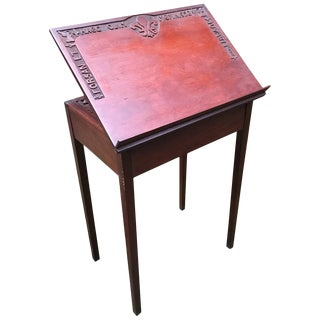 1939 Folk Art Carved Mahogany Book Stand For Sale