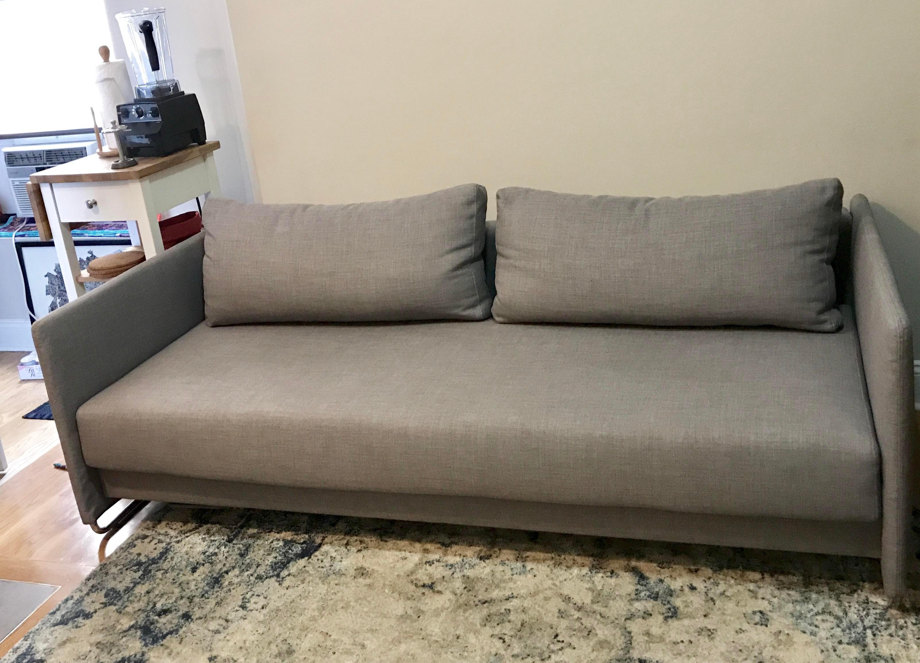 CB2 Tandom Microgrid Grey Sleeper Sofa   Image 2 Of 3