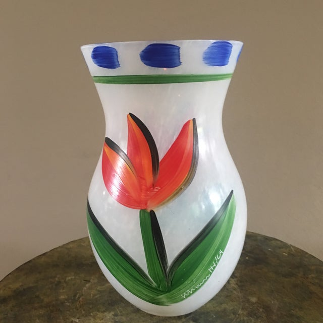 Scandinavian Modern Kosta Boda Handpainted Tulipa Vase For Sale - Image 10 of 10