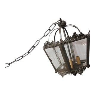 Vintage Cast Iron Etched Glass Pendant For Sale