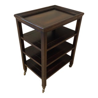 1950s Traditional Baker Heavy Walnut Multi Tiered Side Table For Sale