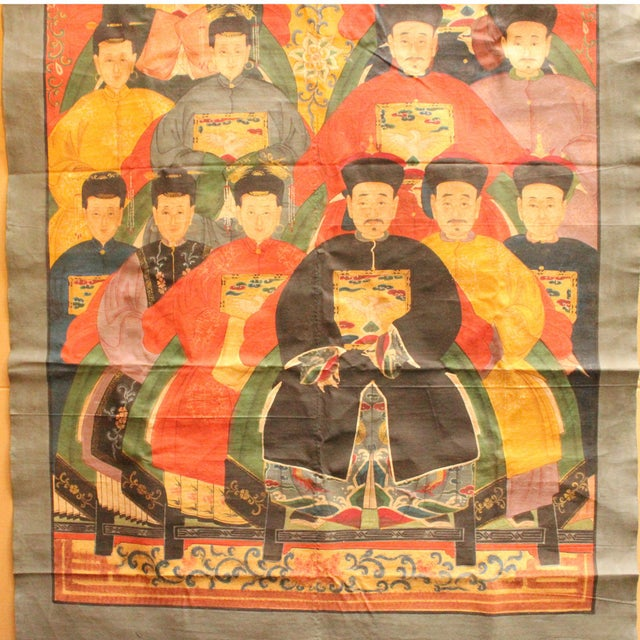 2000 - 2009 Chinese Hand-Painted Canvas Color Ink Ancestors Painting Art For Sale - Image 5 of 7