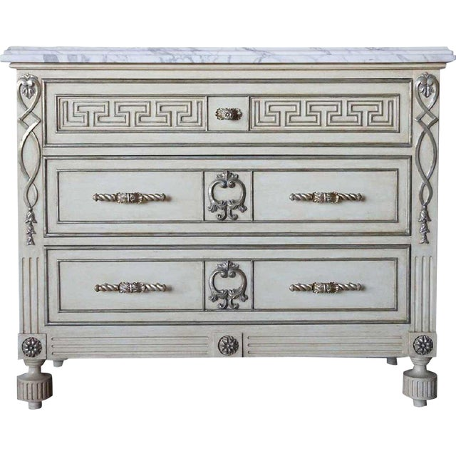 Hollywood Regency Ebanista Villa Lorenzo Painted Marble Top Chest For Sale