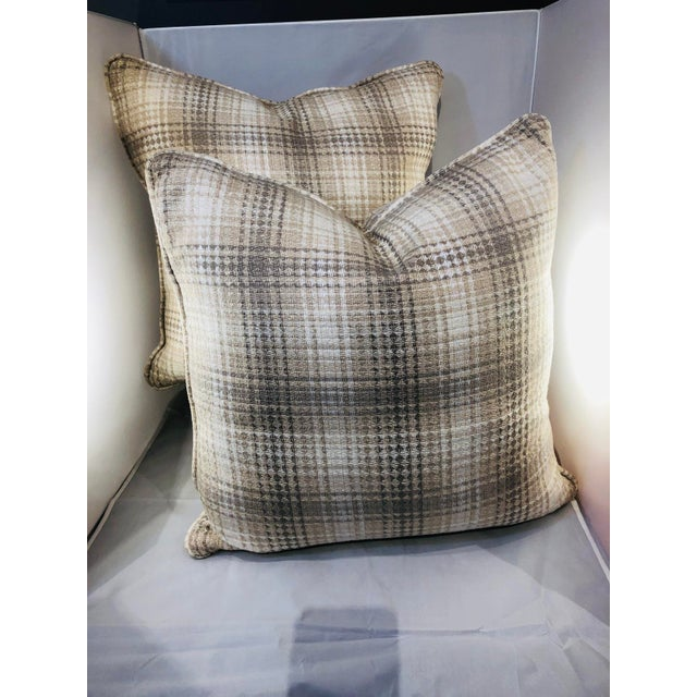 """20"""" Square Plaid Robert Allen Pillows - a Pair For Sale - Image 9 of 9"""