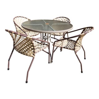 Brown Jordan Mid Century Patio Table & 4 Tamiami Stackable Chairs