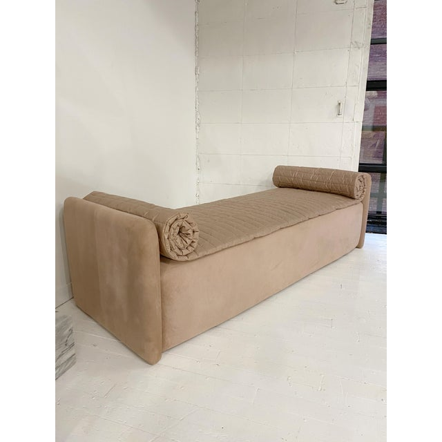 John Saladino blush pink chaise. Micro suede fabric with removable quilted top. Sofa is slightly more pink in person than...