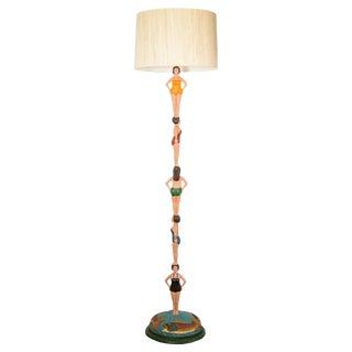 Vintage Stephen Huneck Bathing Beauties Wood Floor Lamp For Sale