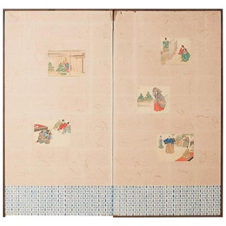Japanese Taisho Period Byobu Screen With Noh Scenes For Sale