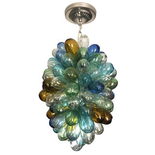 Colorful Balloon Shape Handblown Glass Light Fixture For Sale