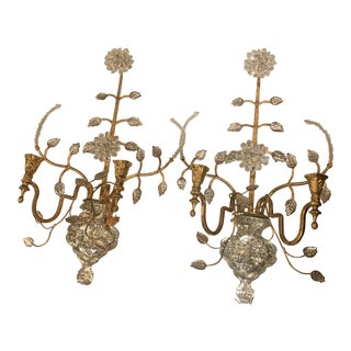 1930s Gold and Silver French Sconces - a Pair For Sale