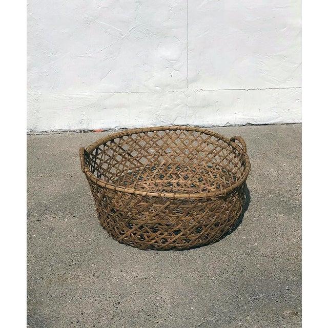 1970s Vintage Boho Chic Rattan Blanket Basket For Sale - Image 4 of 4