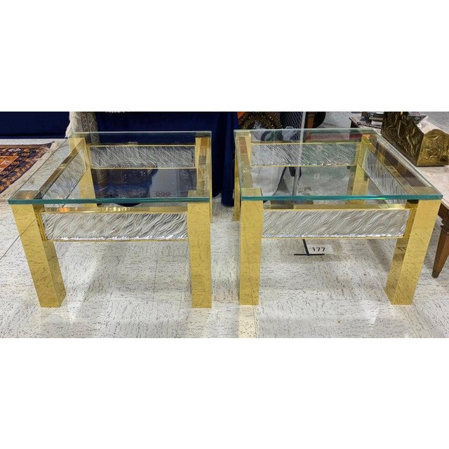 Early 21st Century Pair of Modern Italian Murano Glass and Brass End Tables For Sale - Image 5 of 9