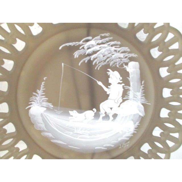Smoke Glass Girl & Boy Display Plates - a Pair For Sale - Image 4 of 9