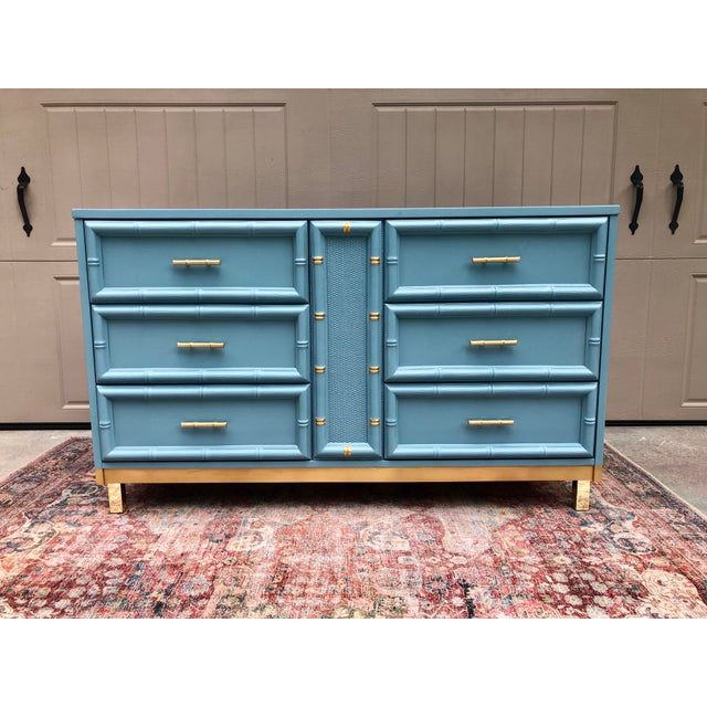 Vintage Faux Bamboo and Caned Dresser For Sale - Image 13 of 13