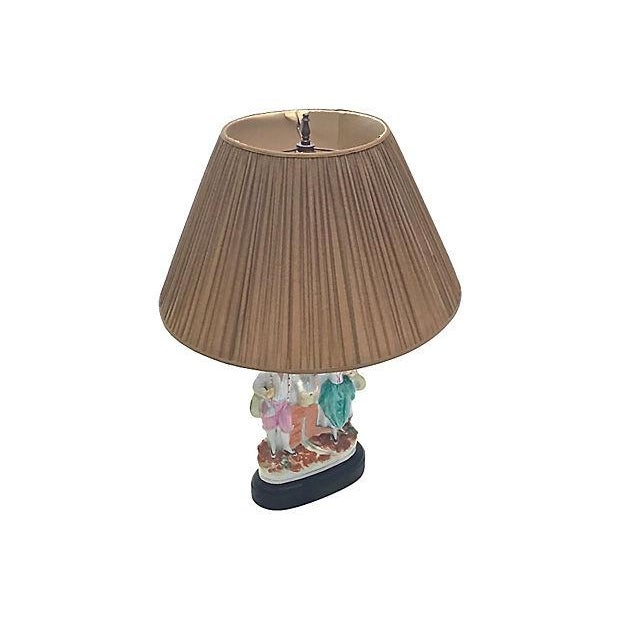 Antique; 19th century, Jack and Jill, English, Staffordshire, spill vase, table lamp. A spill vase converted into a lamp...