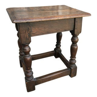 19th Century English Walnut Joint Stool For Sale