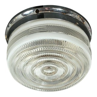 Art Deco Skyscraper Style Textured Glass Circular Flush Mount Chandelier For Sale