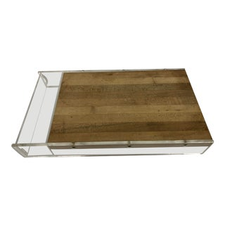 Vintage Mid Century Lucite and Wood Cheese Board Serving Tray For Sale