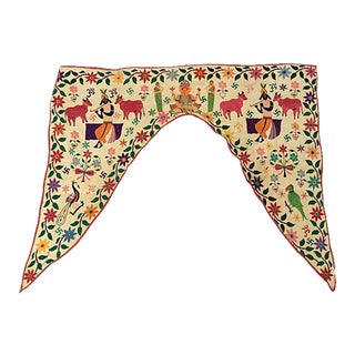 Antique Indian Embroidered Door Valance For Sale