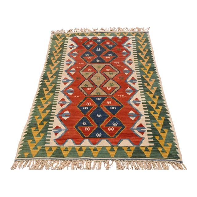 "Vintage Turkish Hand Knotted Kilim Rug - 3'7"" x 5'7"" For Sale"