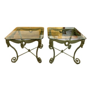 1960s Italian Iron Glass Top Side Tables - a Pair For Sale