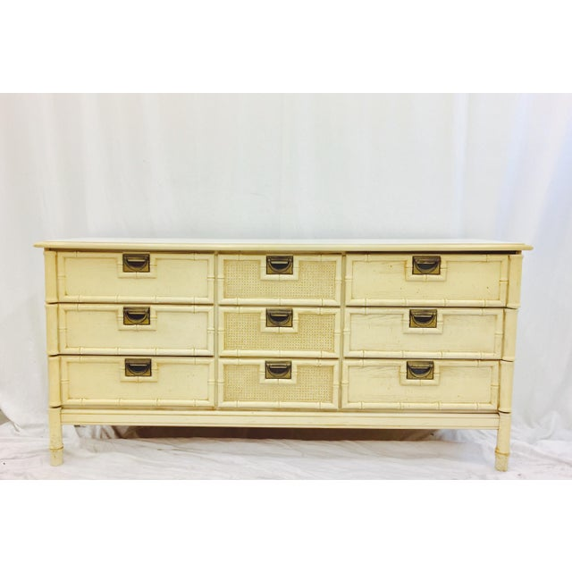 Stunning Vintage Mid Century Hollywood Regency, Palm Beach Chic 9 Drawer Dresser. Faux Bamboo & Cane Frame. Original...