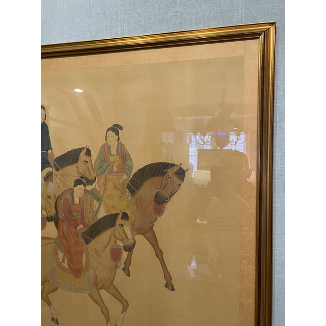 Large Chinese Painting on Silk, Women on Horseback For Sale - Image 12 of 12