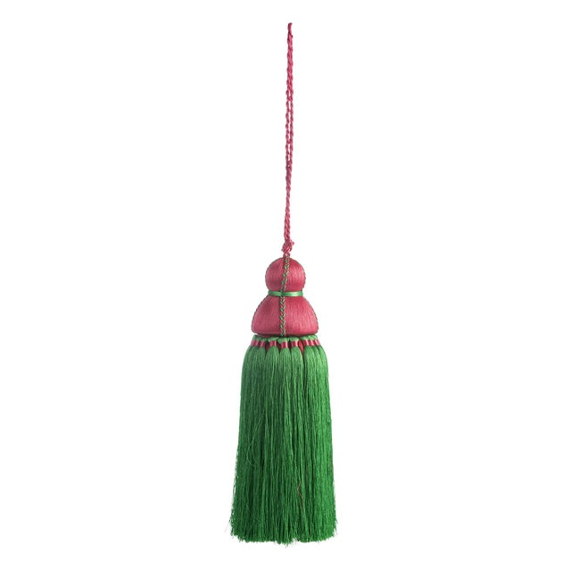 Traditional Green & Pink Tassel, Large For Sale - Image 3 of 3