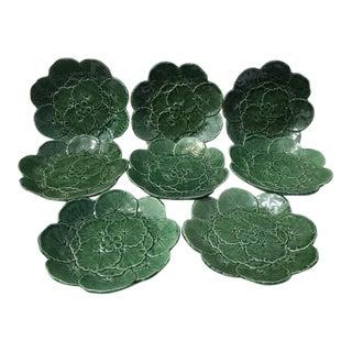 Lilly Pad Leaf Design Dessert Plates - Set of 8 For Sale
