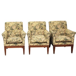 Late 20th Century Vintage Floral Upholstered Chairs- Set of 3 For Sale