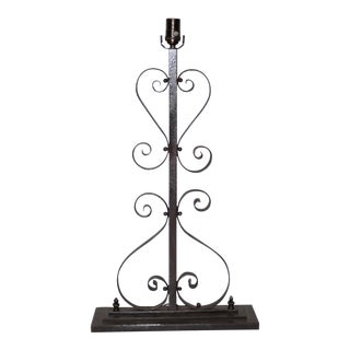 19th Century Decorative French Wrought Iron Lamp Base For Sale