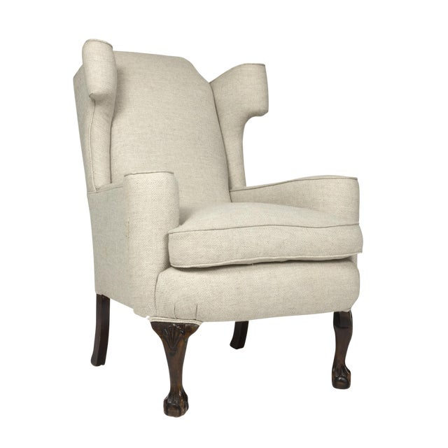 Large Scale English Wing Chair With Mahogany Frame, Carved Mahogany Ball And Claw Feet, Circa 1870 For Sale