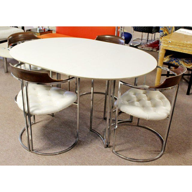 Bauhaus 1970s Mid-Century Modern Daystrom Chrome Wood Laminate Dinette Set For Sale - Image 3 of 13