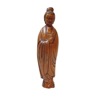 Quality Handcrafted Chinese Solid Boxwood Standing Kwan Yin Bodhisattva Statue For Sale