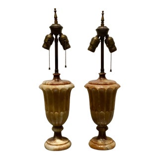 1920s Art Deco Brass Carved Wood Lamps - a Pair