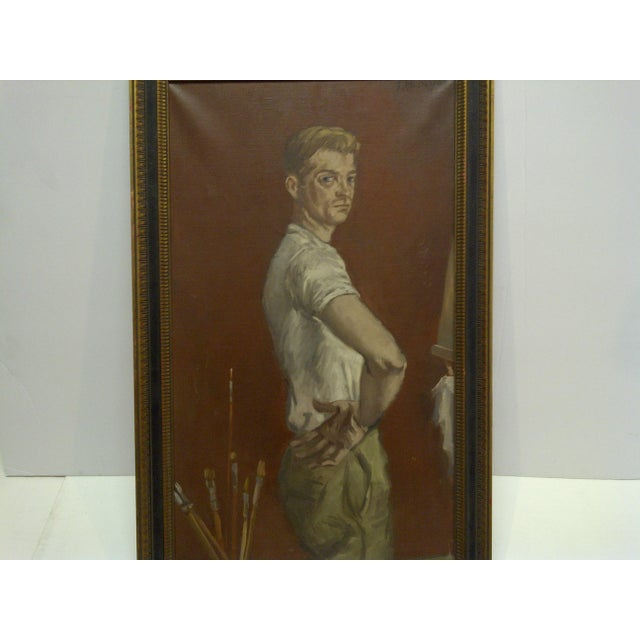 "1960s 1960s ""The Painters Boyfriend"" Signed Framed Painting on Canvas by Frederick McDuff For Sale - Image 5 of 9"