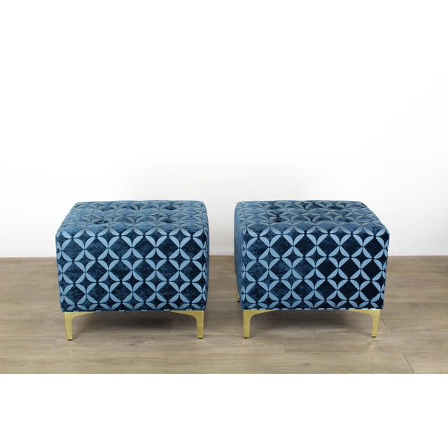 Vintage Blue Chenille Ottoman- a Pair For Sale - Image 9 of 9