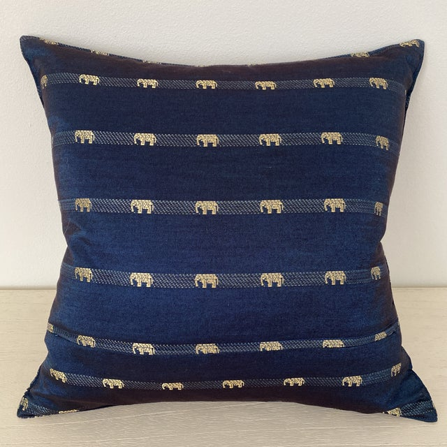 2010s Blue Thai Silk Pillow With Elephant Motif For Sale - Image 5 of 13